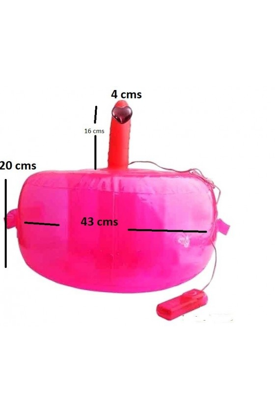 Puff inflable con Vibrador Rosado