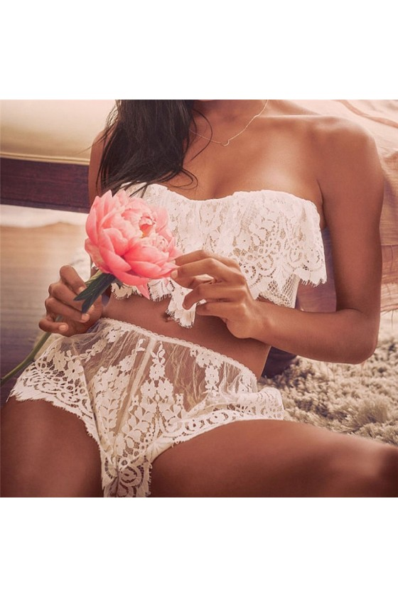 Sexy Conjunto Blanco Encaje
