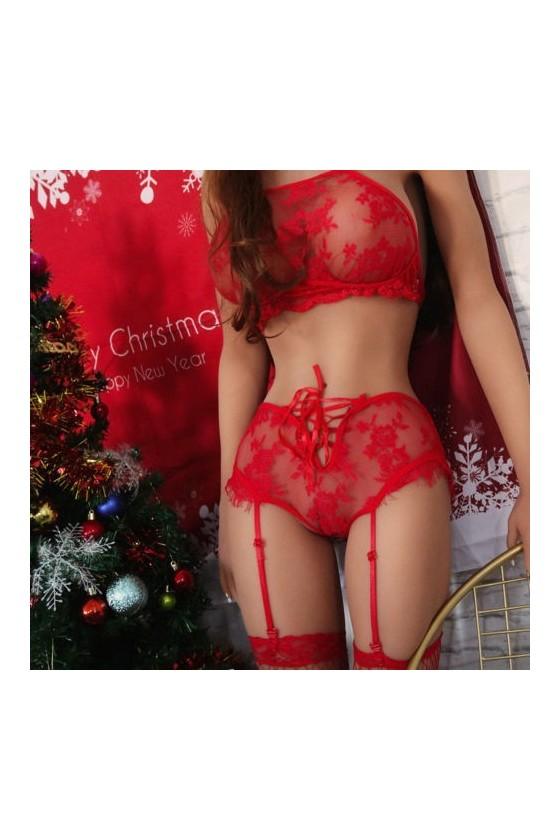 Sexy conjunto Rojo Encaje