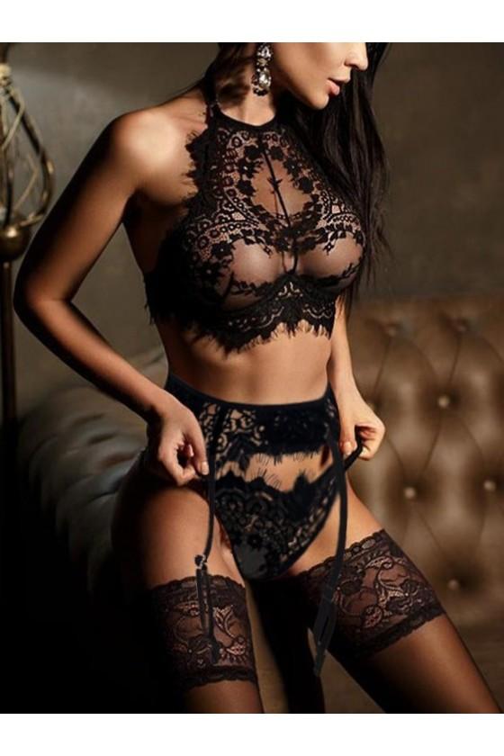Sexy Conjunto Erotico Encaje 3pcs